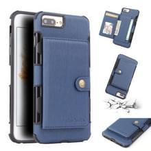 Voor iPhone 8 plus/7 plus geborsteld textuur schokbestendig PU + TPU case  met kaartsleuven & portemonnee & fotolijstjes (blauw)
