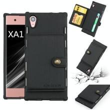 Voor Sony Xperia XA1 geborsteld textuur schokbestendig PU + TPU case  met kaartsleuven & portemonnee & fotolijstjes (zwart)