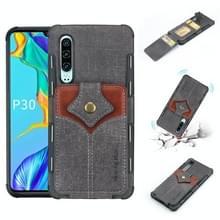 Voor Huawei P30 doek textuur + PU + TPU schokbestendige beschermhoes met kaartsleuven (zwart)