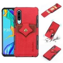 Voor Huawei P30 doek textuur + PU + TPU schokbestendige beschermhoes met kaartsleuven (rood)