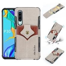 Voor Huawei P30 doek textuur + PU + TPU schokbestendige beschermhoes met kaartsleuven (grijs)