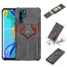 Voor Huawei P30 Pro doek textuur + PU + TPU schokbestendige beschermhoes met kaartsleuven (zwart)