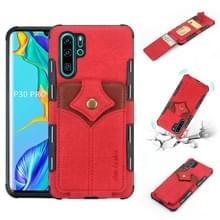 Voor Huawei P30 Pro doek textuur + PU + TPU schokbestendige beschermhoes met kaartsleuven (rood)