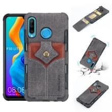 Voor Huawei P30 Lite doek textuur + PU + TPU schokbestendige beschermhoes met kaartsleuven (zwart)