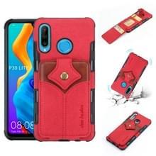 Voor Huawei P30 Lite doek textuur + PU + TPU schokbestendige beschermhoes met kaartsleuven (rood)