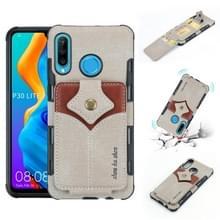 Voor Huawei P30 Lite doek textuur + PU + TPU schokbestendige beschermhoes met kaartsleuven (grijs)