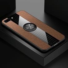 Voor iPhone 8/7 XINLI stiksels doek Textue schokbestendig TPU beschermhoes met ring houder (bruin)