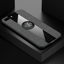 Voor iPhone 8 plus/7 plus XINLI stiksels doek Textue schokbestendig TPU beschermhoes met ring houder (grijs)