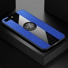 Voor iPhone 8 plus/7 plus XINLI stiksels doek Textue schokbestendig TPU beschermhoes met ring houder (blauw)