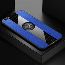 Voor iPhone 6/6s XINLI stiksels doek Textue schokbestendig TPU beschermhoes met ring houder (blauw)