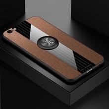 Voor iPhone 6 plus/6s plus XINLI stiksels doek Textue schokbestendig TPU beschermhoes met ring houder (bruin)