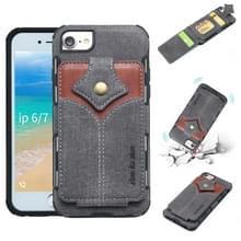 Voor iPhone 8 & 7 doek textuur + PU + TPU schokbestendige beschermhoes met kaartsleuven (zwart)