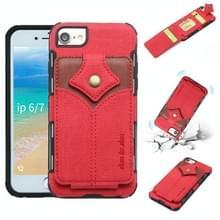 Voor iPhone 8 & 7 doek textuur + PU + TPU schokbestendige beschermhoes met kaartsleuven (rood)