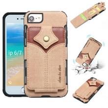 Voor iPhone 8 & 7 doek textuur + PU + TPU schokbestendige beschermhoes met kaartsleuven (kaki)