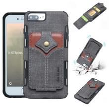 Voor iPhone 8 plus & 7 plus doek textuur + PU + TPU schokbestendige beschermhoes met kaartsleuven (zwart)