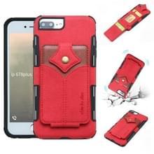 Voor iPhone 8 plus & 7 plus doek textuur + PU + TPU schokbestendige beschermhoes met kaartsleuven (rood)