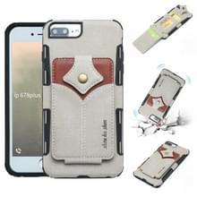 Voor iPhone 8 plus & 7 plus doek textuur + PU + TPU schokbestendige beschermhoes met kaartsleuven (grijs)