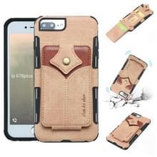 Voor iPhone 8 plus & 7 plus doek textuur + PU + TPU schokbestendige beschermhoes met kaartsleuven (kaki)