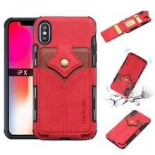 Voor iPhone XS/X doek textuur + PU + TPU schokbestendige beschermhoes met kaartsleuven (rood)