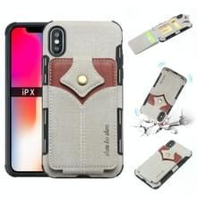 Voor iPhone XS/X doek textuur + PU + TPU schokbestendige beschermhoes met kaartsleuven (grijs)