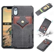 Voor iPhone XR doek textuur + PU + TPU schokbestendige beschermhoes met kaartsleuven (zwart)