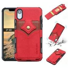 Voor iPhone XR doek textuur + PU + TPU schokbestendige beschermhoes met kaartsleuven (rood)