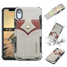 Voor iPhone XR doek textuur + PU + TPU schokbestendige beschermhoes met kaartsleuven (grijs)