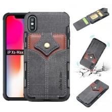 Voor iPhone XS Max doek textuur + PU + TPU schokbestendige beschermhoes met kaartsleuven (zwart)
