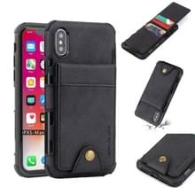 Voor iPhone XS Max doek textuur + TPU schokbestendige beschermhoes met verticale Flip kaartsleuven (zwart)
