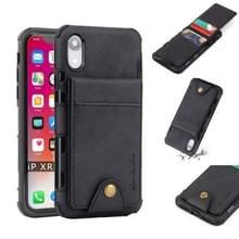 Voor iPhone XR doek textuur + TPU schokbestendige beschermhoes met verticale Flip kaartsleuven (zwart)