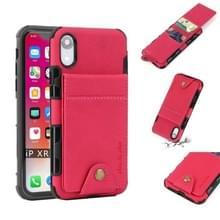 Voor iPhone XR doek textuur + TPU schokbestendige beschermhoes met verticale Flip kaartsleuven (Rose rood)