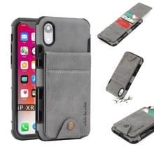 Voor iPhone XR doek textuur + TPU schokbestendige beschermhoes met verticale Flip kaartsleuven (grijs)