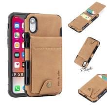 Voor iPhone XR doek textuur + TPU schokbestendige beschermhoes met verticale Flip kaartsleuven (kaki)