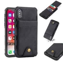Voor iPhone XS/X doek textuur + TPU schokbestendige beschermhoes met verticale Flip kaartsleuven (zwart)