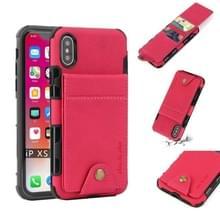 Voor iPhone XS/X doek textuur + TPU schokbestendige beschermhoes met verticale Flip kaartsleuven (Rose rood)