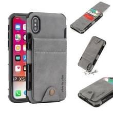 Voor iPhone XS/X doek textuur + TPU schokbestendige beschermhoes met verticale Flip kaartsleuven (grijs)
