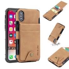 Voor iPhone XS/X doek textuur + TPU schokbestendige beschermhoes met verticale Flip kaartsleuven (kaki)