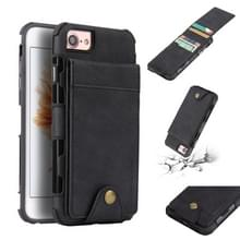 Voor iPhone 8 & 7 doek textuur + TPU schokbestendige beschermhoes met verticale Flip kaartsleuven (zwart)
