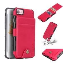 Voor iPhone 8 & 7 doek textuur + TPU schokbestendige beschermhoes met verticale Flip kaartsleuven (Rose rood)