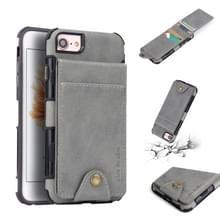 Voor iPhone 8 & 7 doek textuur + TPU schokbestendige beschermhoes met verticale Flip kaartsleuven (grijs)