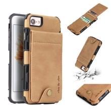 Voor iPhone 8 & 7 doek textuur + TPU schokbestendige beschermhoes met verticale Flip kaartsleuven (kaki)