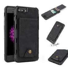 Voor iPhone 6 plus & 6s plus doek textuur + TPU schokbestendige beschermhoes met verticale Flip kaartsleuven (zwart)