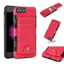 Voor iPhone 6 plus & 6s plus doek textuur + TPU schokbestendige beschermhoes met verticale Flip kaartsleuven (Rose rood)