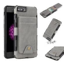 Voor iPhone 6 plus & 6s plus doek textuur + TPU schokbestendige beschermhoes met verticale Flip kaartsleuven (grijs)