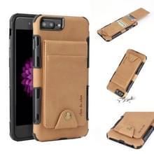 Voor iPhone 6 plus & 6s plus doek textuur + TPU schokbestendige beschermhoes met verticale Flip kaartsleuven (kaki)