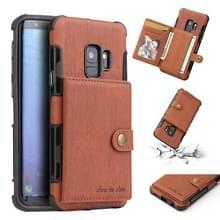 Voor Galaxy S9 geborsteld textuur schokbestendig PU + TPU case  met kaartsleuven & portemonnee & fotolijstjes (bruin)