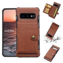 Voor Galaxy S10e geborsteld textuur schokbestendig PU + TPU case  met kaartsleuven & portemonnee & fotolijstjes (bruin)