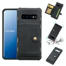 Voor Galaxy S10 PLUS geborsteld textuur schokbestendig PU + TPU case  met kaartsleuven & portemonnee & fotolijstjes (zwart)