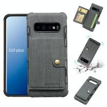 Voor Galaxy S10 PLUS geborsteld textuur schokbestendig PU + TPU case  met kaartsleuven & portemonnee & fotolijstjes (grijs)