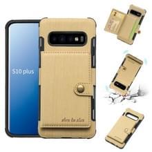 Voor Galaxy S10 PLUS geborsteld textuur schokbestendig PU + TPU case  met kaartsleuven & portemonnee & fotolijstjes (goud)